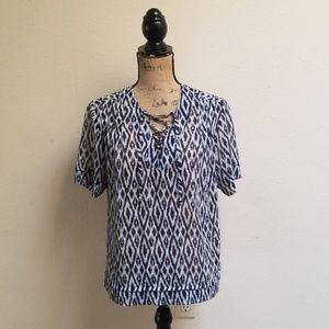 Banana Republic Semi-sheer Shirt criss cross Sz S